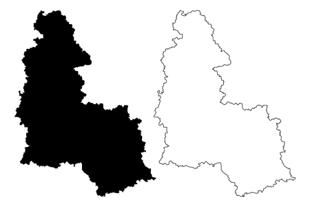 Sumy Oblast (Administrative divisions of Ukraine, Oblasts of Ukraine) map vector illustration, scribble sketch Sumshchyna map