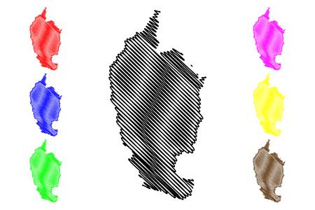 Maha Sarakham Province (Kingdom of Thailand, Siam, Provinces of Thailand) map vector illustration, scribble sketch Mahasarakham map Ilustração Vetorial
