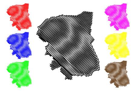Nakhon Pathom Province (Kingdom of Thailand, Siam, Provinces of Thailand) map vector illustration, scribble sketch Nakhon Pathom map Иллюстрация