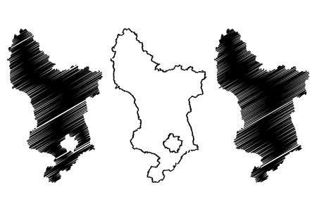 Derbyshire (United Kingdom, England, Non-metropolitan county, shire county) map vector illustration, scribble sketch Derbyshire map