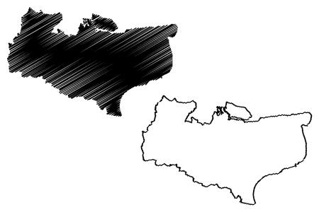 Kent (United Kingdom, England, Non-metropolitan county, shire county) map vector illustration, scribble sketch Kent map
