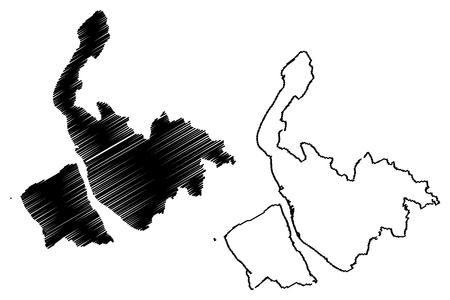 Merseyside (United Kingdom, England, Metropolitan county) map vector illustration, scribble sketch Merseyside map