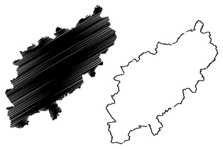 Northamptonshire (United Kingdom, England, Non-metropolitan county, shire county) map vector illustration, scribble sketch County of Northampton (Northants.) map Ilustrace