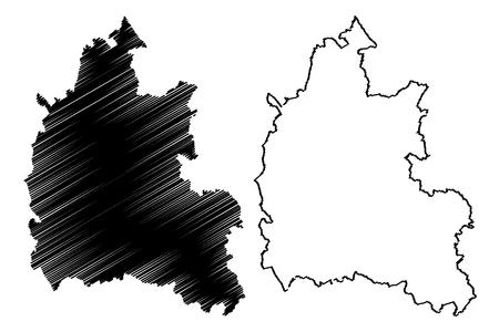 Oxfordshire (United Kingdom, England, Non-metropolitan county, shire county) map vector illustration, scribble sketch Oxon map Ilustrace