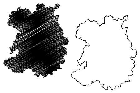 Shropshire (United Kingdom, England, Non-metropolitan county, shire county) map vector illustration, scribble sketch Salop (Shrops, Salopian) map