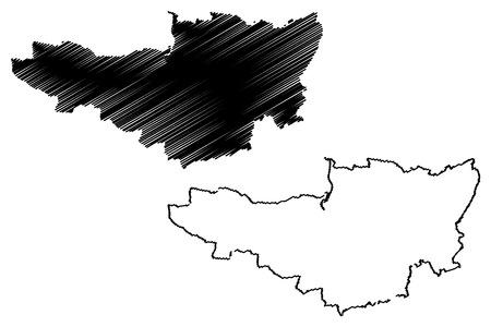Somerset (United Kingdom, England, Non-metropolitan county, shire county) map vector illustration, scribble sketch Somersetshire map Ilustrace