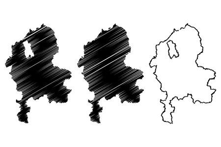 Staffordshire (United Kingdom, England, Non-metropolitan county, shire county) map vector illustration, scribble sketch Staffs. map