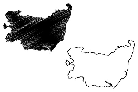 Suffolk (United Kingdom, England, Non-metropolitan county, shire county) map vector illustration, scribble sketch Suffolk map