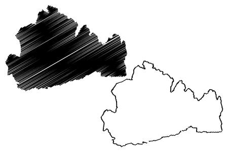 Surrey (United Kingdom, England, Non-metropolitan county, shire county) map vector illustration, scribble sketch Surrey map Ilustrace