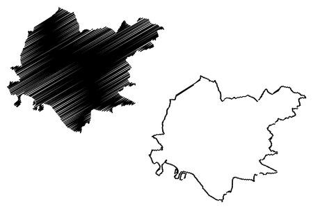 Clackmannanshire (United Kingdom, Scotland, Local government in Scotland) map vector illustration, scribble sketch Clackmannanshire (Clacks.) map