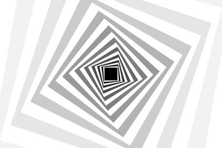 Carrés concentriques rotatifs, motif d'illusion d'optique carré - noir et rouge, fond gris abstrait géométrique