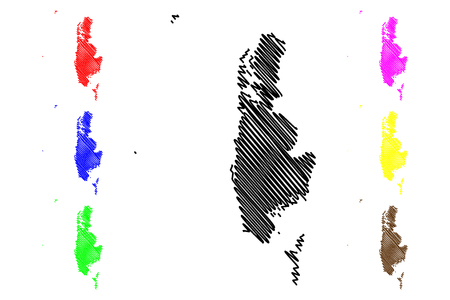 Phang Nga Province (Kingdom of Thailand, Siam, Provinces of Thailand) map vector illustration, scribble sketch Phang Nga map