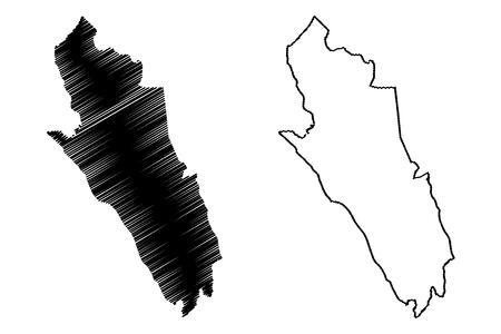 Merthyr Tydfil County Borough (United Kingdom, Wales, Cymru, Principal areas of Wales) map vector illustration, scribble sketch Merthyr Tydfil map
