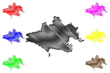 Dorset (United Kingdom, England, Non-metropolitan county, shire county) map vector illustration, scribble sketch Dorsetshire map