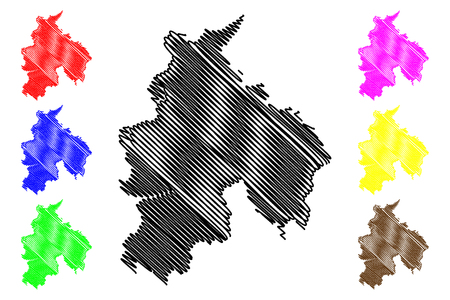 Lancashire (United Kingdom, England, Non-metropolitan county, shire county) map vector illustration, scribble sketch Lancs. map Illustration