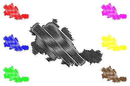 West Midlands (United Kingdom, England, Metropolitan county) map vector illustration, scribble sketch West Midlands (county) map Illustration