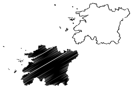 North Jeolla Province (South Korea, Republic of Korea, ROK, Provinces of South Korea) map vector illustration, scribble sketch Jeollabuk-do map Ilustrace