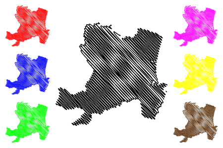 Aberdeen (United Kingdom, Scotland, Local government in Scotland) map vector illustration, scribble sketch City and council area Aberdeen map Illustration