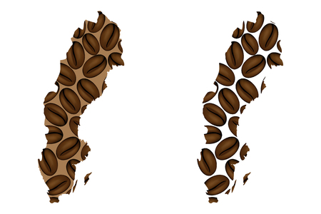 Sweden - map of coffee bean, Kingdom of Sweden map made of coffee beans,