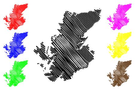 Highland (United Kingdom, Scotland, Local government in Scotland) map vector illustration, scribble sketch Highland (Scottish Highlands,  inner-Hebridean, council area) map