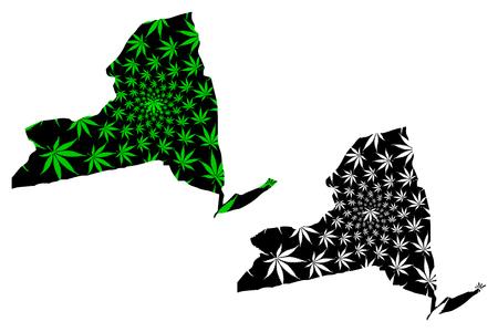 New York  (United States of America, USA, U.S., US) -  map is designed cannabis leaf green and black, State of New York map made of marijuana (marihuana,THC) foliage,