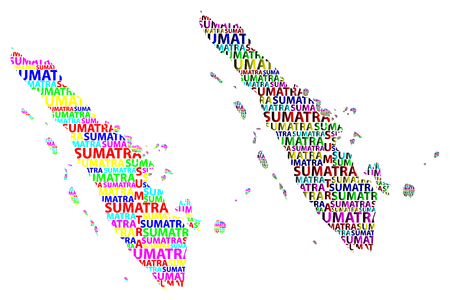 Sketch Sumatra letter text map, Sumatra (Republic of Indonesia, Greater Sunda Islands) - in the shape of the continent, Map Sumatra - color vector illustration Vetores