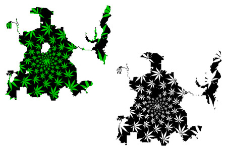 Dallas city (United States of America, USA, U.S., US, United States cities, usa city) -  map is designed cannabis leaf green and black, City of Dallas map made of marijuana (marihuana,THC) foliage,