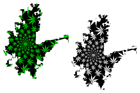 Fort Worth city (United States of America, USA, U.S., US, United States cities, usa city) -  map is designed cannabis leaf green and black, City of Fort Worth map made of marijuana (marihuana,THC) foliage,