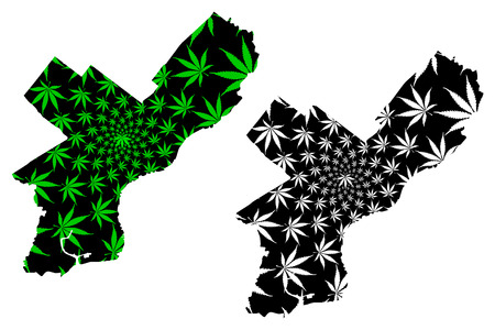 Philadelphia city (United States of America, USA, U.S., US, United States cities, usa city) -  map is designed cannabis leaf green and black, City of Philadelphia map made of marijuana (marihuana,THC) foliage,