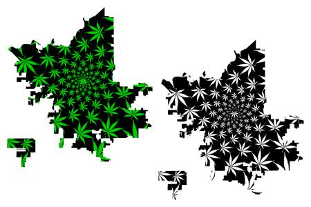 Fresno city (United States of America, USA, U.S., US, United States cities, usa city)- map is designed cannabis leaf green, City of Fresno map made of marijuana (marihuana,THC) foliage,