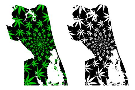 Virginia Beach city (United States of America, USA, U.S., US, United States cities, usa city)- map is designed cannabis leaf green, City of Virginia Beach map made of marijuana (marihuana,THC) foliage, Ilustrace