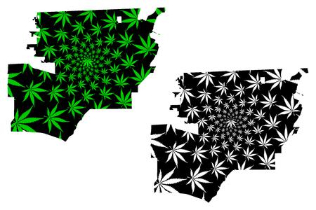 Toledo city (United States of America, USA, U.S., US, United States cities, usa city)- map is designed cannabis leaf green, City of Toledo map made of marijuana (marihuana,THC) foliage,