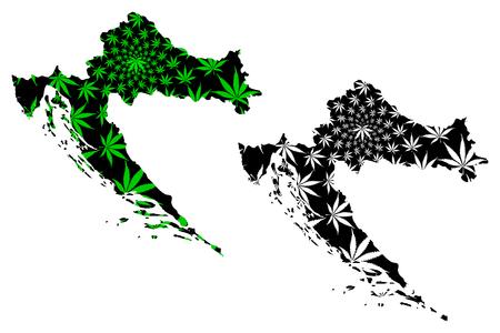 Croatia - map is designed cannabis leaf green and black, Republic of Croatia map made of marijuana (marihuana,THC) foliage,