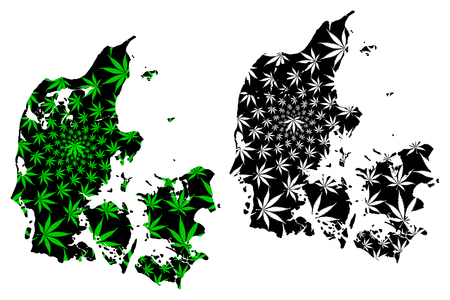 Denmark - map is designed cannabis leaf green and black, Kingdom of Denmark map made of marijuana (marihuana,THC) foliage,