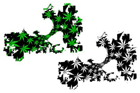 Madison city (United States of America, USA, U.S., US, United States cities, usa city)- map is designed cannabis leaf green, City of Madison map made of marijuana (marihuana,THC) foliage,
