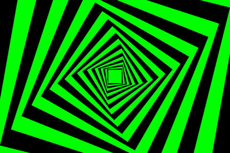 Rotating concentric squares, Square optical illusion pattern - black and green, Geometric abstract background
