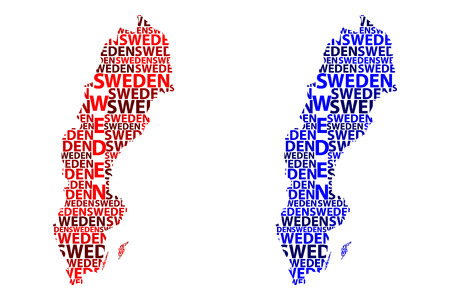 Sketch Sweden letter text map, Kingdom of Sweden - in the shape of the continent, Map Sweden - red and blue vector illustration