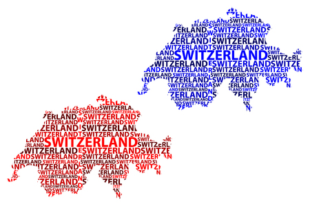 Sketch Switzerland letter text map, Swiss Confederation - in the shape of the continent, Map Switzerland (Helvetia)- red and blue vector illustration