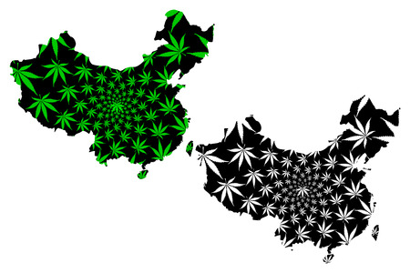 China - map is designed cannabis leaf green and black, Peoples Republic of China (PRC) map made of marijuana (marihuana,THC) foliage,