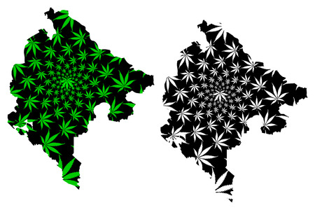 Montenegro - map is designed cannabis leaf green and black, Montenegro map made of marijuana (marihuana,THC) foliage,