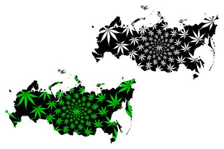 Russia - map is designed cannabis leaf green and black,  Russian Federation map made of marijuana (marihuana,THC) foliage,