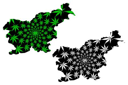 Slovenia - map is designed cannabis leaf green and black, Republic of Slovenia map made of marijuana (marihuana,THC) foliage,