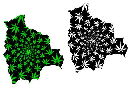 Bolivia - map is designed cannabis leaf green and black, Plurinational State of Bolivia map made of marijuana (marihuana,THC) foliage,