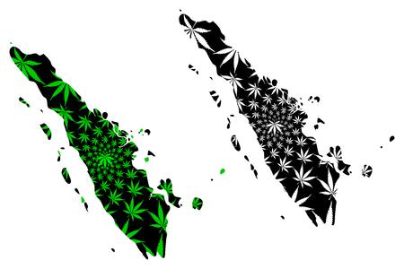 Sumatra - map is designed cannabis leaf green and black, Sumatra (Republic of Indonesia) map made of marijuana (marihuana,THC) foliage,