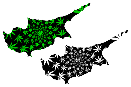 Cyprus - map is designed cannabis leaf green and black, Republic of Cyprus map made of marijuana (marihuana,THC) foliage,