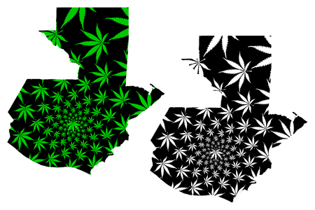 Guatemala - map is designed cannabis leaf green and black, Republic of Guatemala map made of marijuana (marihuana,THC) foliage,  イラスト・ベクター素材