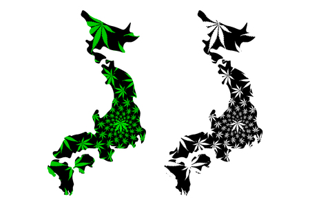 Japan - map is designed cannabis leaf green and black, Japan (Honshu, Hokkaido, Kyushu and Shikoku)map made of marijuana (marihuana,THC) foliage,