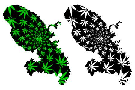 Martinique - map is designed cannabis leaf green and black, Martinique island map made of marijuana (marihuana,THC) foliage,