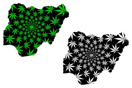 Nigeria - map is designed cannabis leaf green and black, Federal Republic of Nigeria map made of marijuana (marihuana,THC) foliage,