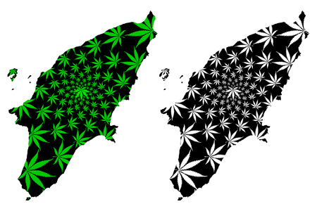 Rhodes - map is designed cannabis leaf green and black, Rhodes island map made of marijuana (marihuana,THC) foliage, Vettoriali